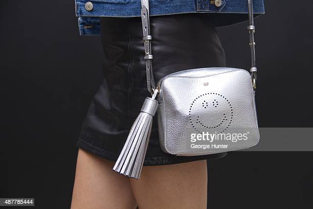 Larrisa May is seen on the streets of Manhattan outside the Yigal Azrouel Spring 2016 fashion show at Skylight at Moynihan Station wearing silver...