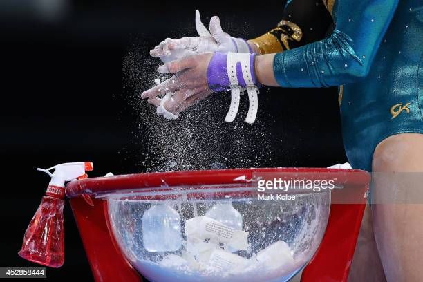 Larrissa Miller of Australia prepares to compete in the Women's Team Final Individual Qualification at the SECC Precinct during day five of the...