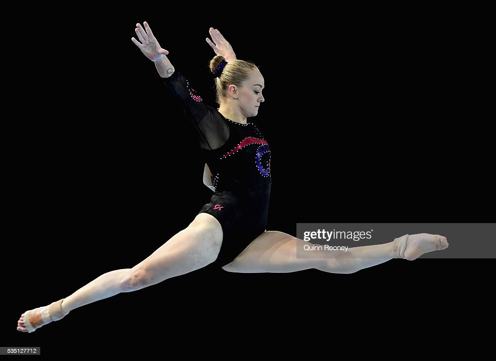 Larrissa Miller of Victoria competes on the floor during the 2016 Australian Gymnastics Championships at Hisense Arena on May 29, 2016 in Melbourne, Australia.