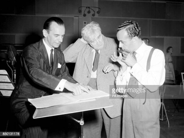 Larry Adler rehearses for the Promenade concert at the BBC studios in Maida Vale Picture shows Sir Malcolm Sargent Dr Ralph Vaughan Williams Larry...