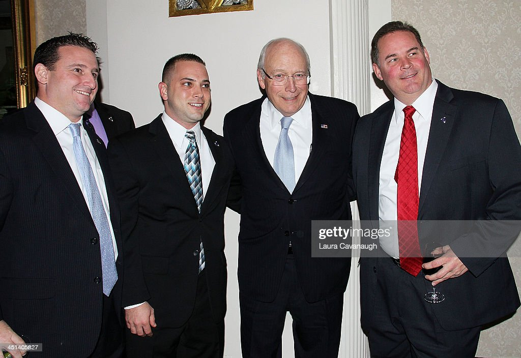 Larry Ayers, Phil Fantasia, <a gi-track='captionPersonalityLinkClicked' href=/galleries/search?phrase=Dick+Cheney&family=editorial&specificpeople=125149 ng-click='$event.stopPropagation()'>Dick Cheney</a> and Cyril Kerr attend the 2013 Federal Law Enforcement Foundation Luncheon at The Waldorf=Astoria on November 22, 2013 in New York City.