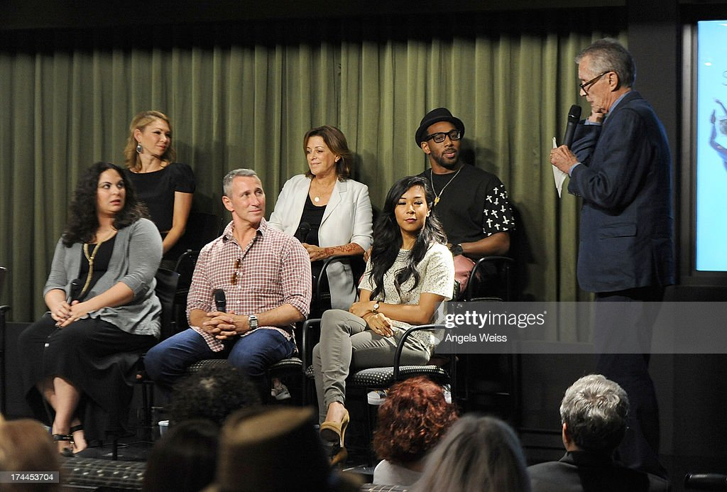 Larry Billman (R), Kym Johnson, Dayna Hasson, Julie McDonald, producer Adam Shankman, tWitch and Galen Hooks attend the Screen Actors Guild Foundation, SAG-AFTRA and Career Transitions for Dancers presents 'Dancers Forum' with Nigel Lythgoe, Cat Deeley, Adam Shankman, Kym Johnson, tWitch and more at SAG Foundation Actors Center on July 25, 2013 in Los Angeles, California.