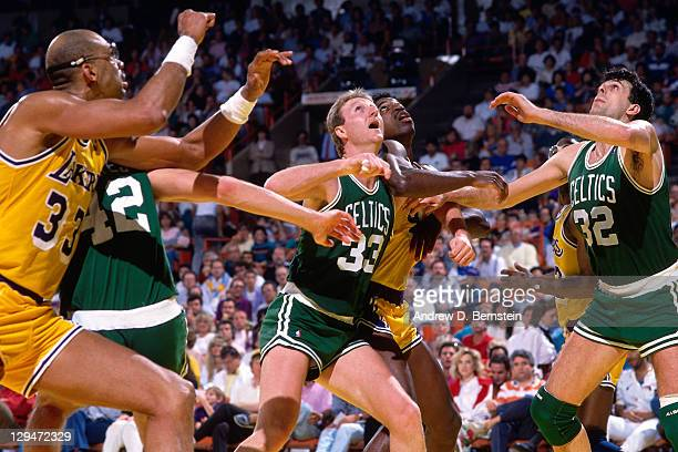 Larry Bird and Kevin McHale of the Boston Celtics box out against the Los Angeles Lakers circa 1987 at the Great Western Forum in Inglewood...