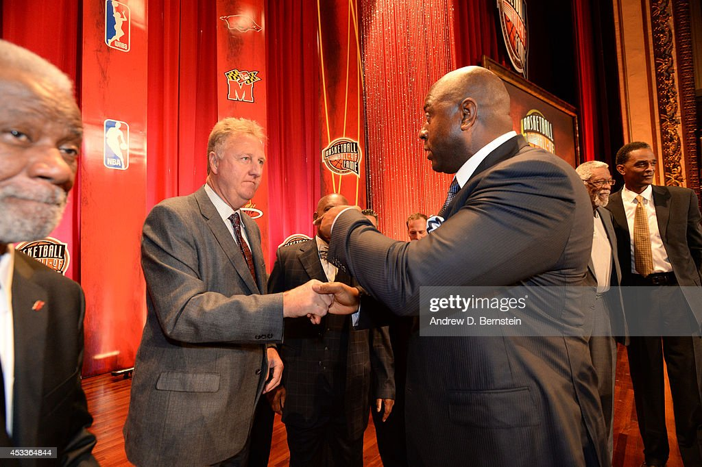 <a gi-track='captionPersonalityLinkClicked' href=/galleries/search?phrase=Larry+Bird&family=editorial&specificpeople=202870 ng-click='$event.stopPropagation()'>Larry Bird</a> and <a gi-track='captionPersonalityLinkClicked' href=/galleries/search?phrase=Magic+Johnson&family=editorial&specificpeople=157511 ng-click='$event.stopPropagation()'>Magic Johnson</a> during the 2014 Basketball Hall of Fame Enshrinement Ceremony on August 8, 2014 at the Mass Mutual Center in Springfield, Massachusetts.