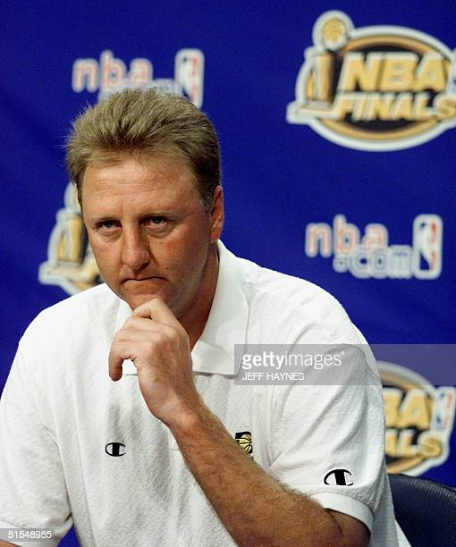 Larry Bird head coach of the Indiana Pacers talks to the media on an off day during the NBA Finals 12 June 2000 at Conseco Fieldhouse in Indianapolis...