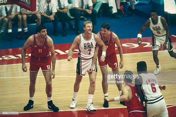 Larry Bird laughing with Toni Kukoc during the final of the men's basketball tournament at the 1992 Olympics USA vs Croatia USA won 11785 | Location...