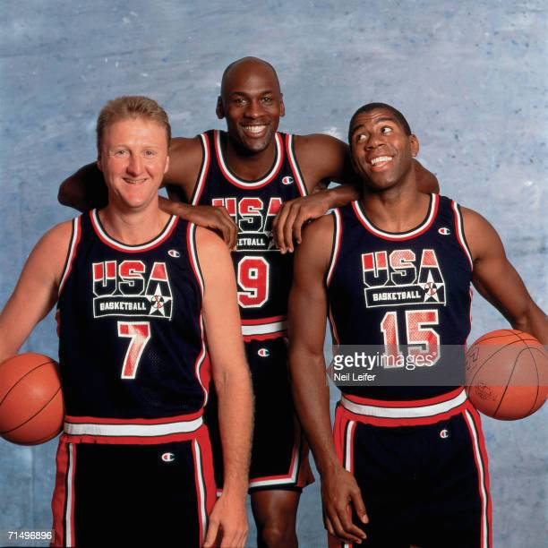 Larry Bird Michael Jordan and Magic Johnson of the United States National Team pose for a photo during the1992 Summer Olympics in Barcelona Spain...