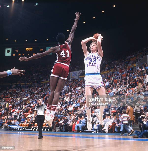 Larry Bird of Indiana State throws a jumpshot against West Texas circa the late 1970's during a college game