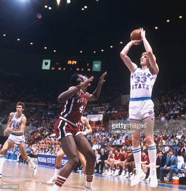 Larry Bird of Indiana State throws a jumpshot from the threepoint line against West Texas circa the late 1970's during a college game