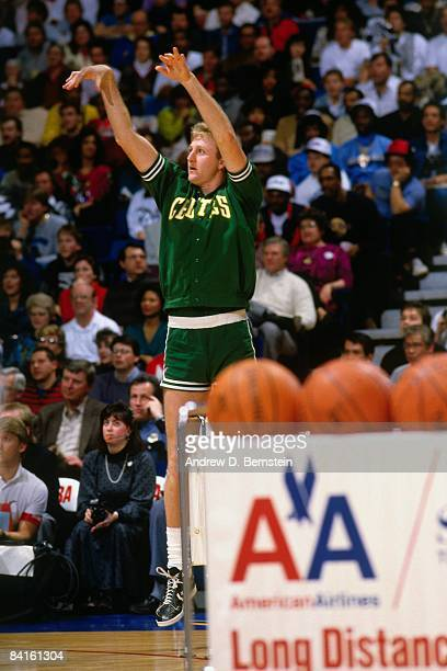 Larry Bird of the Boston Celtics competes during the 1986 Three Point Contest on February 8 1986 at Reunion Arena in Dallas Texas NOTE TO USER User...
