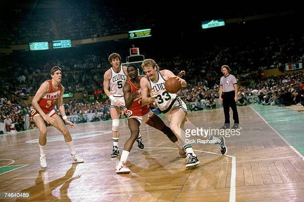 Larry Bird of the Boston Celtics drives to the basket against the Atlanta Hawks during a 1986 NBA game at the Boston Garden in Boston Massachusetts...