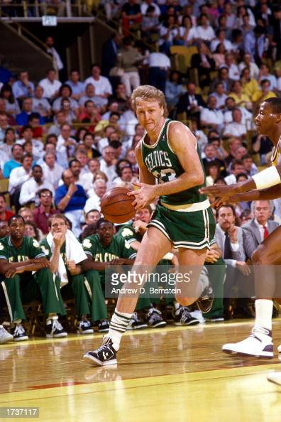 Larry Bird of the Boston Celtics drives to the basket during the NBA Finals against the Los Angeles Lakers at The Great Western Forum on June 1 1986...