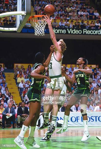 Larry Bird of the Boston Celtics in action against the Milwaukee Bucks during an NBA basketball game circa 1984 at The Boston Garden in Boston...