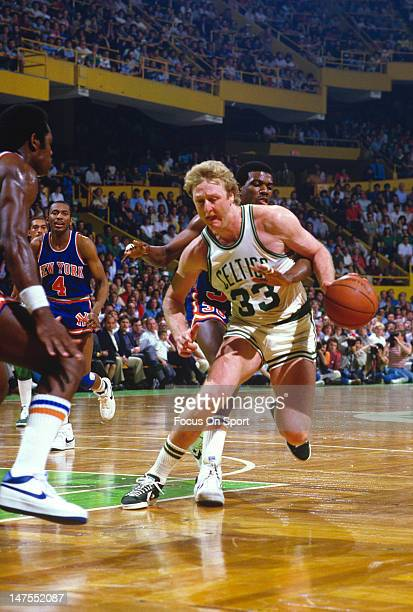 Larry Bird of the Boston Celtics in action against the New York Knicks during an NBA basketball game circa 1984 at The Boston Garden in Boston...
