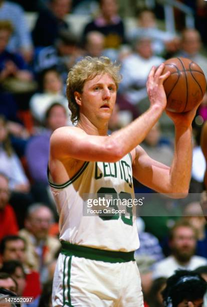 Larry Bird of the Boston Celtics in action during an NBA basketball game circa 1984 at The Boston Garden in Boston Massachusetts Bird played for the...