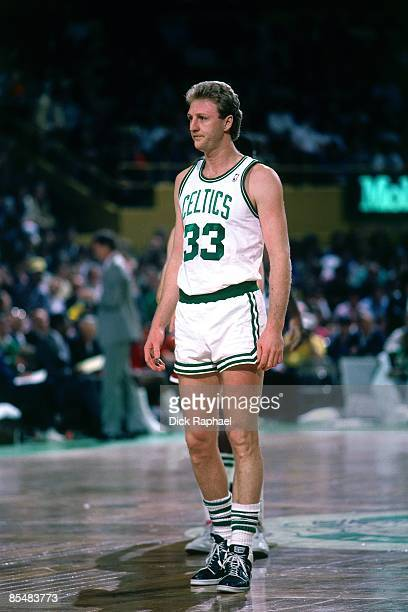 Larry Bird of the Boston Celtics looks on during a game played in 1987 at the Boston Garden in Boston Massachusetts NOTE TO USER User expressly...
