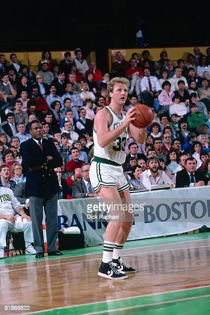 Larry Bird of the Boston Celtics looks to shoot during a game played in 1986 at the Boston Garden in Boston Massachusetts NOTE TO USER User expressly...