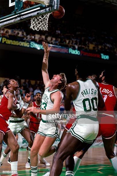Larry Bird of the Boston Celtics looks up for the rebound against the San Diego Clippers during a game played in 1983 at the Boston Garden in Boston...