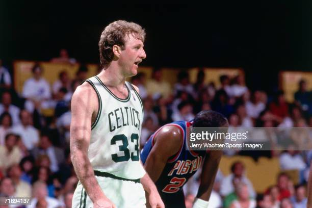 Larry Bird of the Boston Celtics playing against the Washington Bullets during a regular season game circa 1987 at the Capital Centre in Landover...