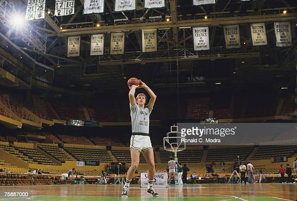 Larry Bird of the Boston Celtics practices before a game on January 22 1986 in Boston Massachusetts