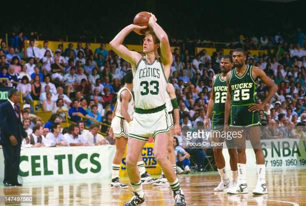 Larry Bird of the Boston Celtics shoots a freethrow against the Milwaukee Bucks during an NBA game circa 1987 at The Boston Garden in Boston...