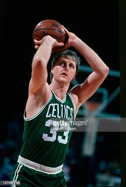 Larry Bird of the Boston Celtics shoots a freethrow against the Washington Bullets during an NBA basketball game circa 1985 at the Capital Center in...