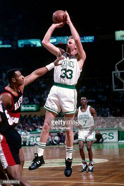 Larry Bird of the Boston Celtics shoots against the Portland Trail Blazers during a game in 1992 at the Boston Garden in Boston Massachusetts NOTE TO...