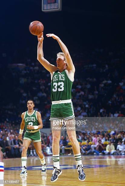 Larry Bird of the Boston Celtics shoots against the Washington Bullets during an NBA basketball game circa 1983 at the Capital Center in Landover...