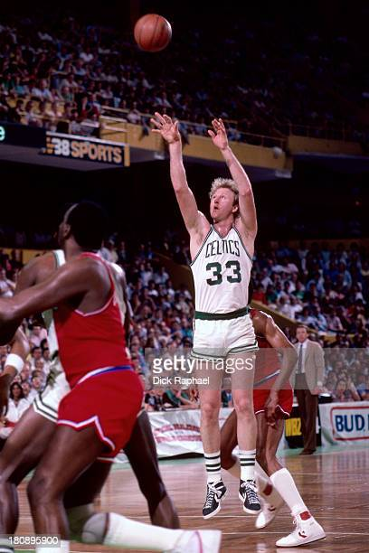 Larry Bird of the Boston Celtics shoots during a game against the Washington Bullets circa 1985 at the Boston Garden in Boston Massachusetts NOTE TO...