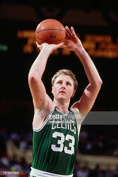 Larry Bird of the Boston Celtics shoots during a game played circa 1989 at Madison Square Garden in New York City NOTE TO USER User expressly...