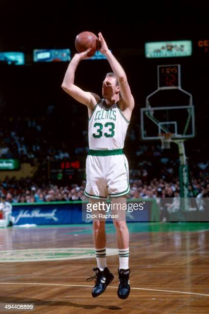 Larry Bird of the Boston Celtics shoots during a game played in 1992 at the Boston Garden in Boston Massachusetts NOTE TO USER User expressly...