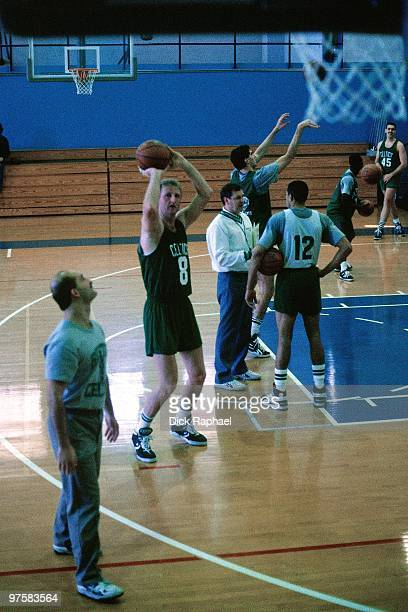 Larry Bird of the Boston Celtics shoots during practice in 1986 in Boston Massachusetts NOTE TO USER User expressly acknowledges and agrees that by...