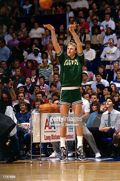Larry Bird of the Boston Celtics shoots during the Long Distance shootout during the February 1987 NBA All Star Weekend in Seattle Washington NOTE TO...