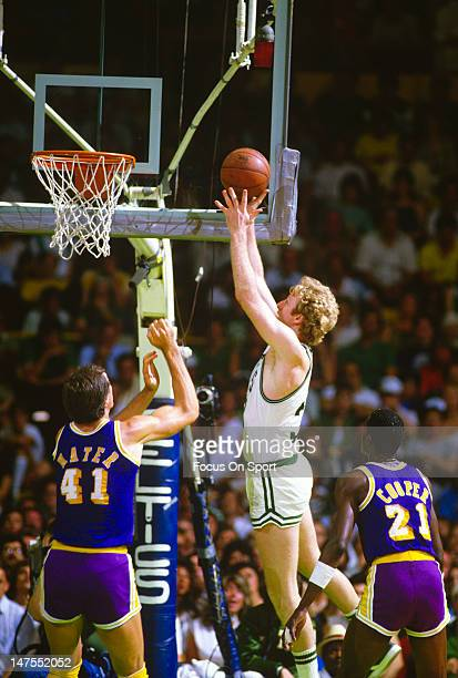 Larry Bird of the Boston Celtics shoots over Swen Nater of the Los Angeles Lakers during the 1984 NBA Finals June 1984 at The Boston Garden in Boston...