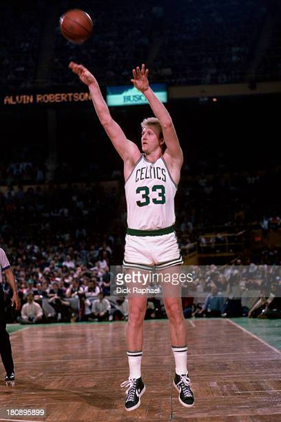 Larry Bird of the Boston Celtics shoots the ball during a game circa 1985 at the Boston Garden in Boston Massachusetts NOTE TO USER User expressly...