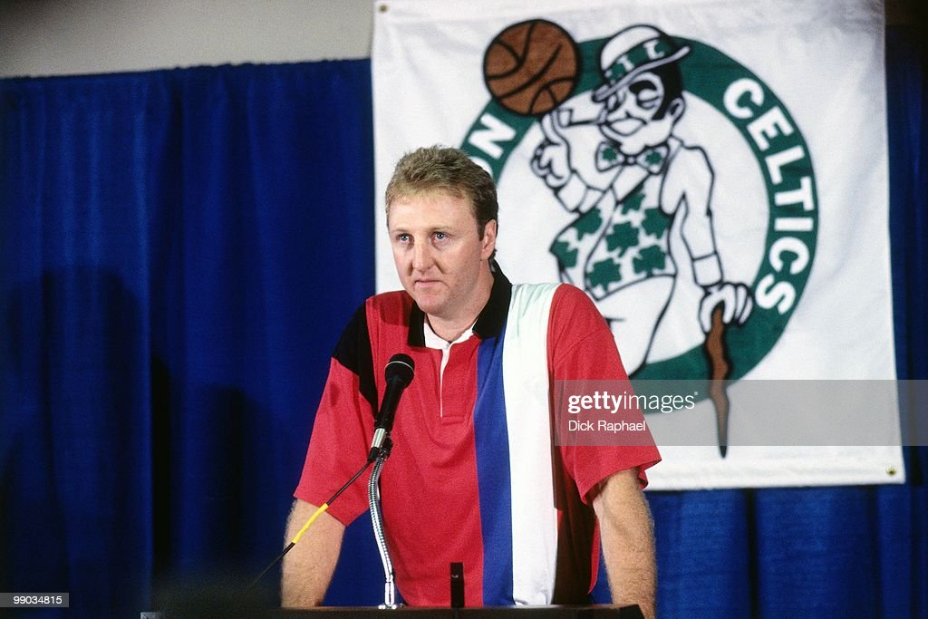 Larry Bird of the Boston Celtics speaks to the media during a press conference to announce his retirement on August 18 1992 at the Boston Garden in...