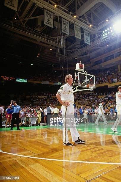 Larry Bird of the Boston Celtics stands prior to a game during the 1987 NBA Finals circa 1987 at the Boston Garden in Boston Massachussetts NOTE TO...
