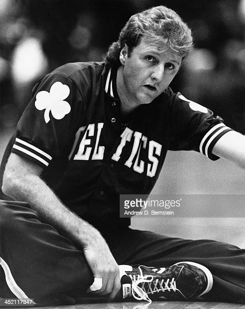 Larry Bird of the Boston Celtics stretches prior to a game against Los Angeles Clippers during a game circa 1987 at the Los Angeles Memorial Sports...