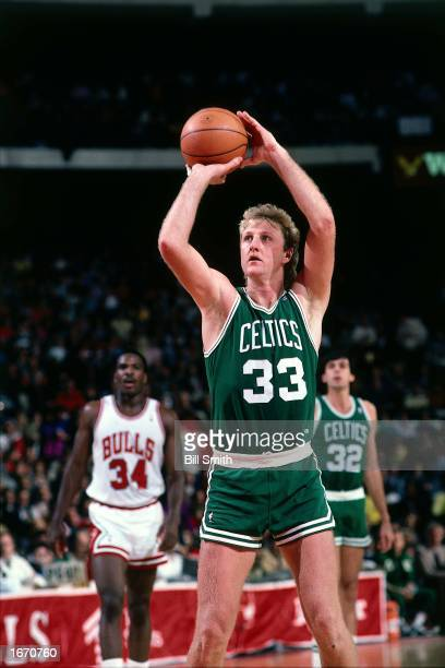Larry Bird of the Boston Celtics takes a freethrow during the 1980 NBA game against the Chicago Bulls at Chicago Stadium in Chicago Illinois NOTE TO...