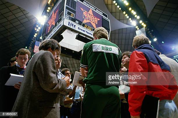 Larry Bird of the Boston Celtics talks to the media during the 1987 NBA AllStar Weekend at the Kingdome in Seattle Washington on February 8 1987 NOTE...