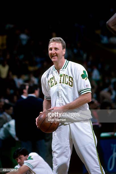 Larry Bird of the Boston Celtics warms up before a game in 1992 at the Boston Garden in Boston Massachusetts NOTE TO USER User expressly acknowledges...