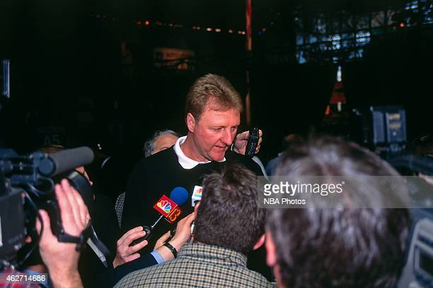 Larry Bird of the Indiana Pacers talks to the media during NBA AllStar Practice on February 7 1998 at Madison Square Garden in New York City NOTE TO...