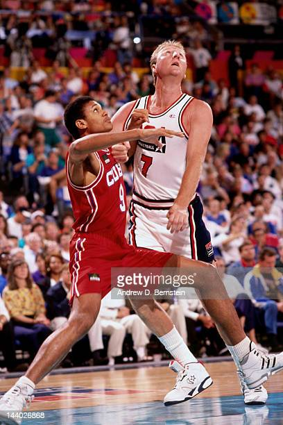 Larry Bird of the United States battles for position against Cuba during the Basketball Tournament of Americas on June 28 1992 at the Veterans...