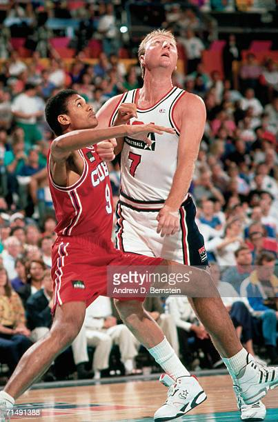 Larry Bird of the United States National Team battles for position during the1992 Summer Olympics in Barcelona Spain NOTE TO USER User expressly...