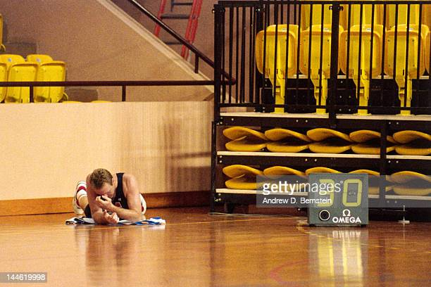 Larry BIrd of the United States National Team lies on this back during a practice in June 1992 in La Jolla California NOTE TO USER User expressly...