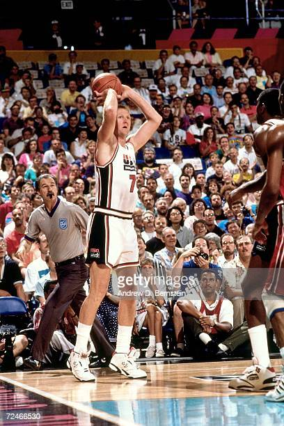 Larry Bird of the United States National Team shoots a jump shot during the1992 Summer Olympics in Barcelona Spain NOTE TO USER User expressly...