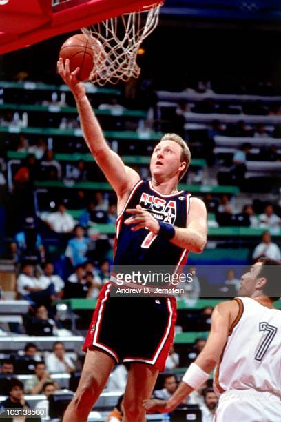 Larry Bird of the United States National Team shoots during the 1992 Olympics in Barcelona Spain NOTE TO USER User expressly acknowledges and agrees...