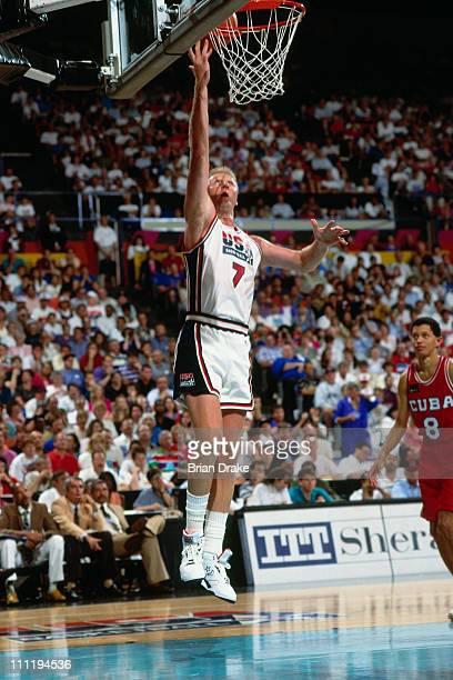 Larry Bird of the United States Senior Men's National Team shoots against Cuba during the 1992 Basketball Tournament of Americas at the Veterans...