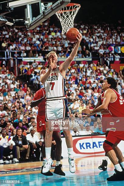 Larry Bird of the United States Senior Men's team shoots against Cuba during the 1992 Basketball Tournament of Americas at the Veterans Memorial...