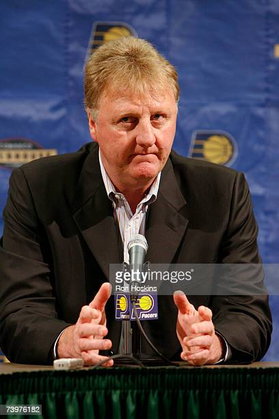Larry Bird President of Basketball Operations for the Indiana Pacers addresses the media in regards to Pacers coach Rick Carlisle stepping down...